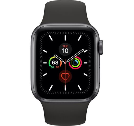 Apple Series 5 44mm GPS+Cellular (MWWE2) Space Gray Aluminum Case with Black Sport Band costel.md
