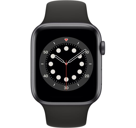 Apple Series 6 40mm (MG133) Grey Aluminum Case with Sport Band Black costel.md