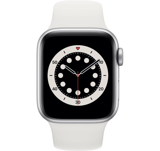 Apple Series 6 40mm (MG283) Silver Aluminum Case with Sport Band White costel.md