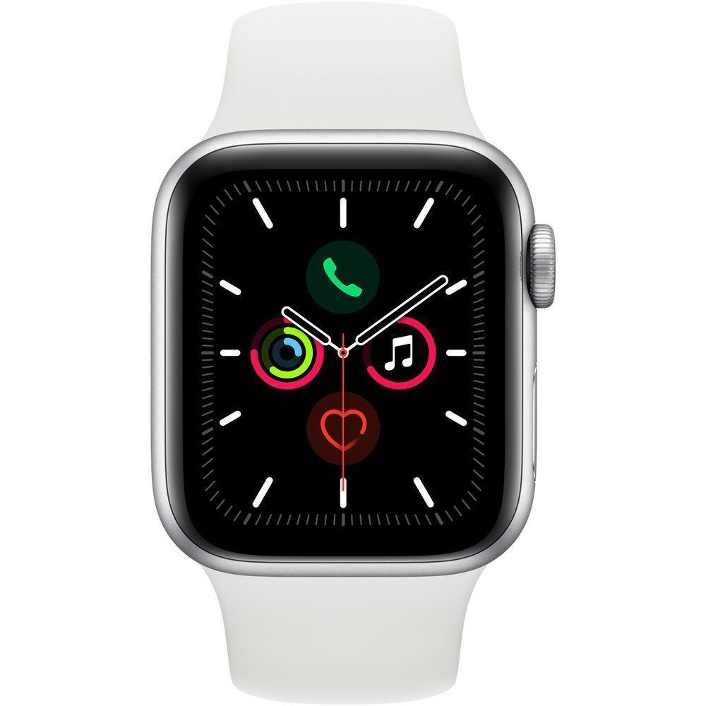 Apple Watch 5 44mm (MWVD2) Silver Aluminium White Sport Band costel.md